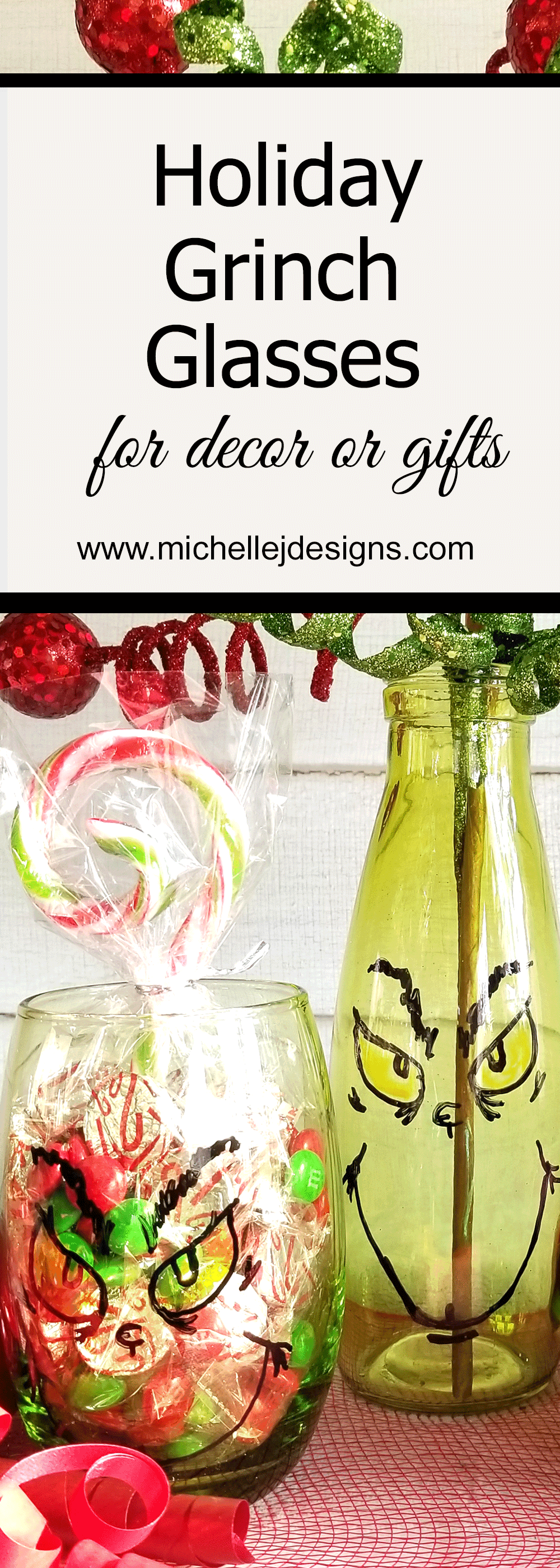 Create some fun Grinch glasses then use them for easy Grinch Gifts for neighbors, friends, or family!