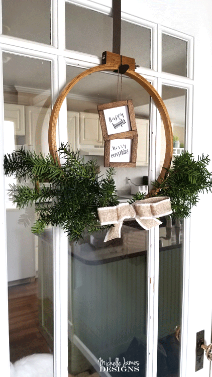 I love it when friends give me craft supplies they don't want anymore. This time I made and awesome embroidery hoop holiday wreath with one of the hoops given to me. It is fabulous! - www.michellejdesigns.com