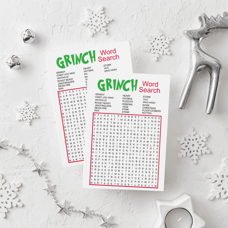 This is a fun Grinch Word Search Game that everyone will love to play! - www.michellejdesigns.com