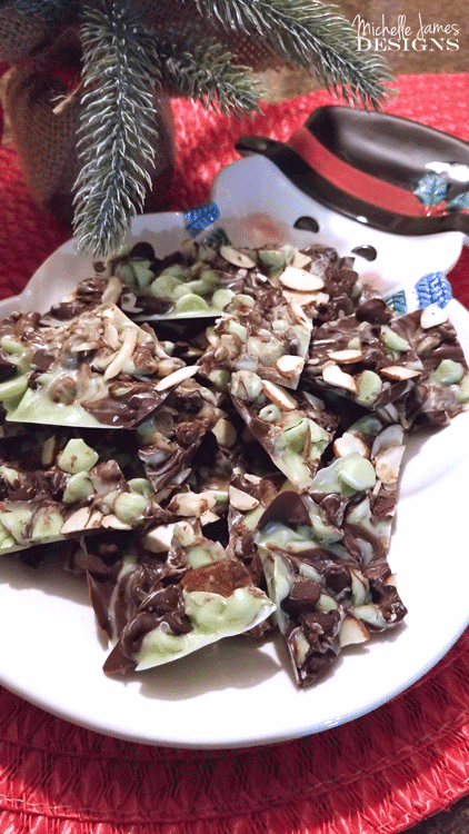 This mint chocolate almond bark is so easy and only needs two ingredients. It is my new favorite! - www.michellejdesigns.com
