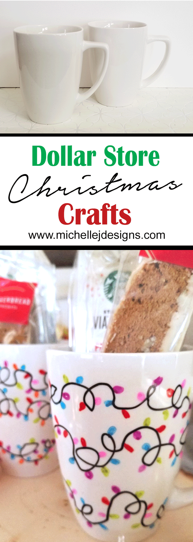 These dollar store Christmas craft is perfect for friends, co-workers, teachers and more. It is fun, festive and budget friendly - www.michellejdesigns.com