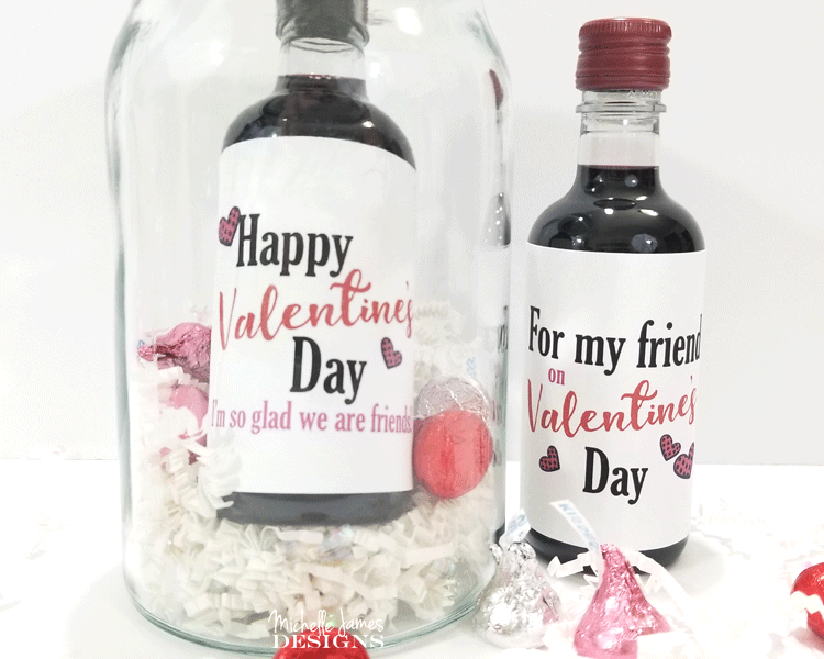 graphic about Free Printable Wine Labels identify Cost-free Printable Valentines Working day Mini Wine Bottle Labels