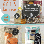 A collage of 3 of the 18 gift in a jar ideas.