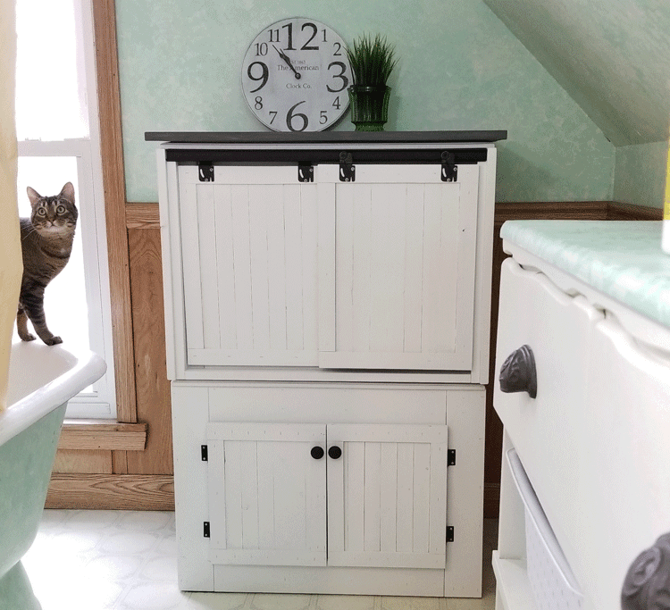 We Transformed Two End Tables Into A Diy Farmhouse Style Cat Litter Box Furniture To Conceal
