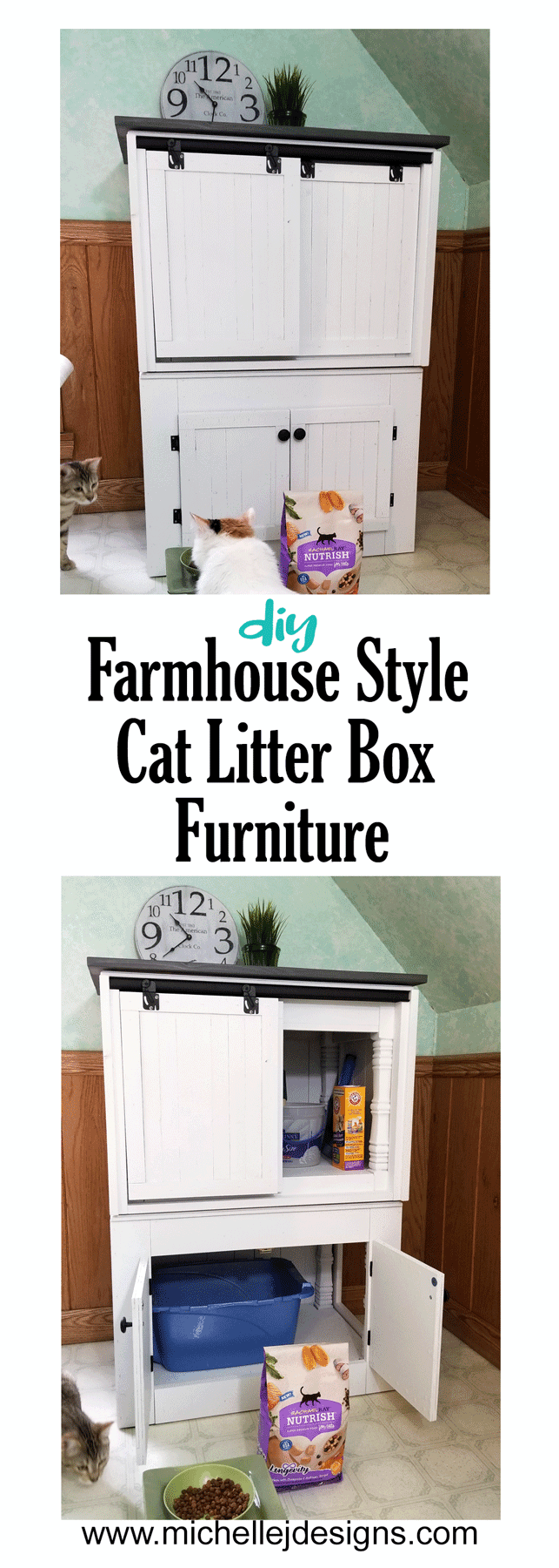 We transformed two end tables into a DIY farmhouse style cat litter box furniture to conceal a litter box. #NutrishForCats #NutrishPets #catfurniture #diy #farmhousestyle - www.michellejdesigns.com