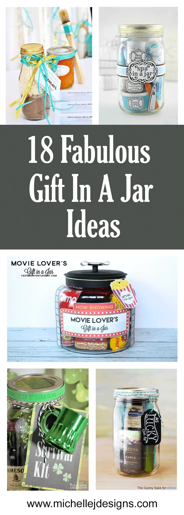 A collage of 5 of the 18 fabulous gift in a jar idea.