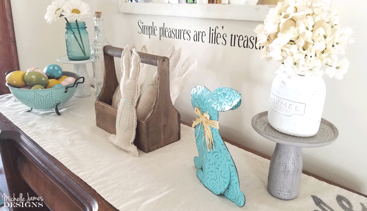 I love to create with drop cloths. They are budget friendly and give that popular farmhouse look. These drop cloth bunnies are one of my favorites! #dropcloth #dropclothprojects #farmhousestyle #bunnies - www.michellejdesigns.com
