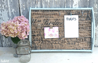 The farmhouse, romantic look is so fun to create and still very popular. I created a magnetic memo board from a thrift store tray that has this fun farmhouse look. #organize #farmhousestyle #memoboard - www.michellejdesigns.com