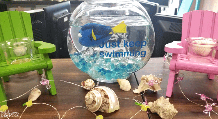 "This inspiring Dory fishbowl keeps us going at work. We 'just keep swimming"" everyday and Dory keeps us going! #dory #findingnemo #justkeepswimming - www.michellejdesigns.com"