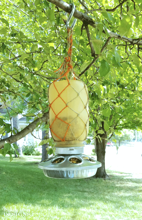 Birds need food all year long. Create a fall mason jar hanging bird feeder for them during the fall months when the weather starts to turn - www.michellejdesigns.com