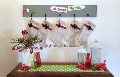 This DIY Grinch Inspired Stocking Wall Hanger is super cute and is the perfect touch if you don't have a mantel! www.michellejdesigns.com - #michellejdesigns #stockinghanger #styletechcraft