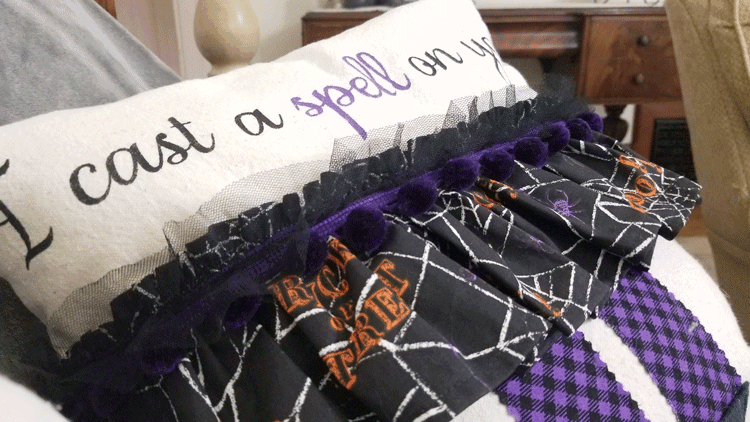 These are the most fun Halloween Throw Pillows. Grab your sewing machine and let's make them together! #michellejdesigns #halloweenthrowpillows #halloweendecor #halloween #witchpillows #funwitches