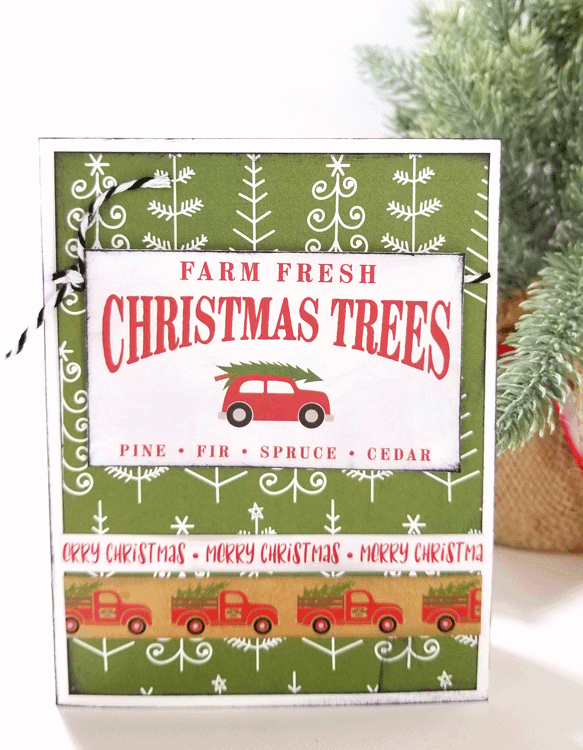 Everyone loves this old red truck with the tree. It is the perfect Farmhouse Style Christmas Card - www.michellejesigns.com #michellejdesigns #farmhousechristmascard #farmhousecards #handmadecards #echoparkpaper