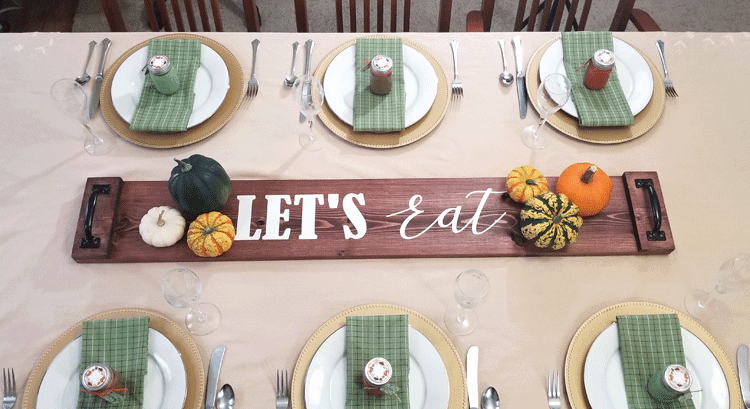 Create your own DIY Rustic Wood Table Runner with just a few materials. It is easy and it looks great! - www.michellejdesigns.com #michellejdesisgns #woodtablerunner #tablerunner #farmhousestyle