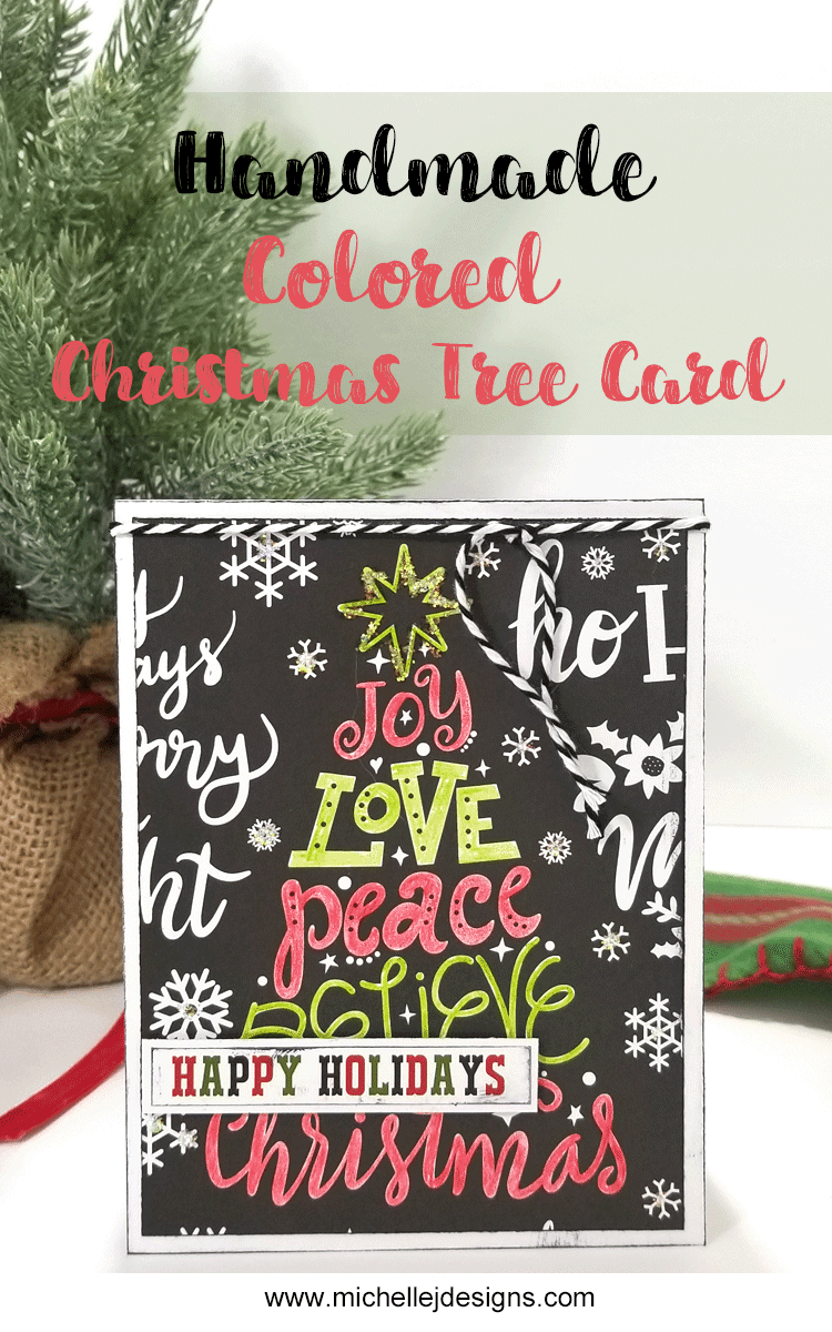 Using colored pencils is an easy way to add color and interest to your cards. This handmade colored Christmas tree is a great example of some easy coloring! - www.michellejdesigns.com #michellejdesigns #handmadecards #christmascards #echopark