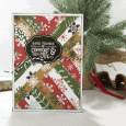 Patterned paper cut into strips makes a stunning card. This paper strips Christmas card is so pretty and ready to send! www.michellejdesigns.com #michellejdesigns #handmadechristmascards #diycards #echopark