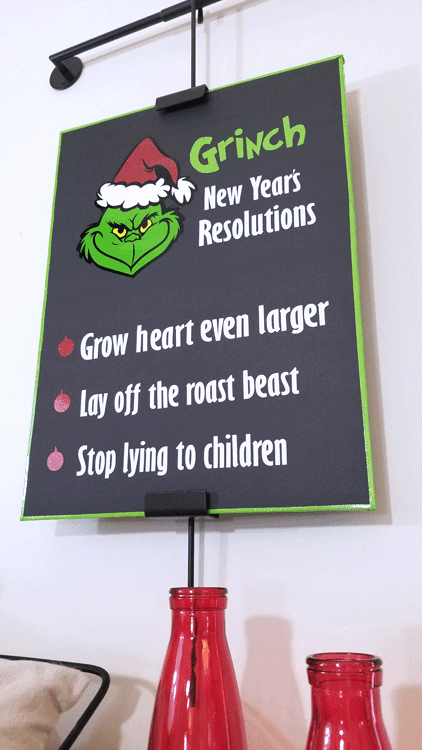 I have been having fun with the Grinch decorations in my home. This funny sign adds a little more humor to the mix! #michellejdesigns #thegrinch #grinchdecor