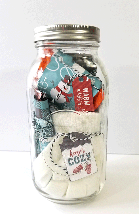This mason jar winter basic survival kit will be perfect for my relatives moving to the midwest. Their first winter will be tough but this should help! - www.michellejdesigns.com #michellejdesigns #masonjars #masonjargifts #winterbasicsurvivalkit