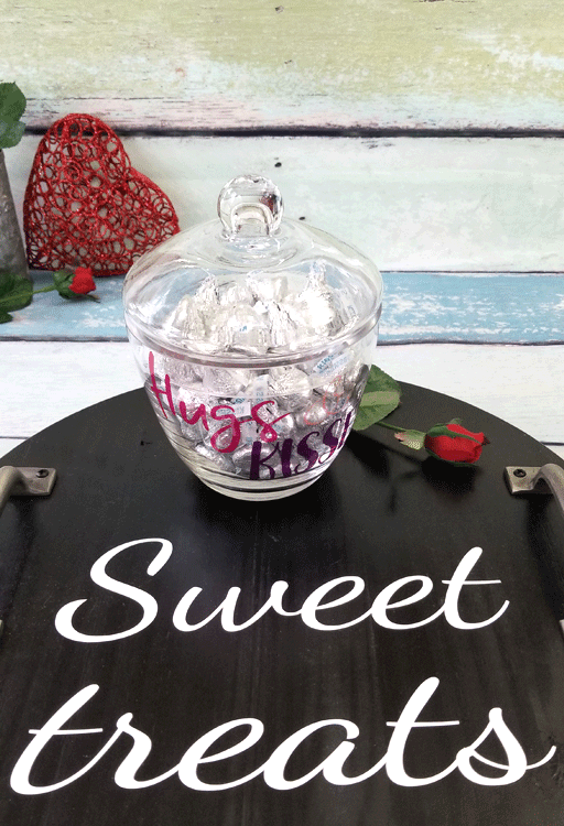 Create a Valentine glass candy dish using StyleTechCraft Transparent Glitter vinyl.  Then DIY a wood tray to showcase your sweet treats.