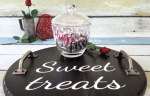 Decorating A Valentine Glass Candy Dish And DIY Wood Tray