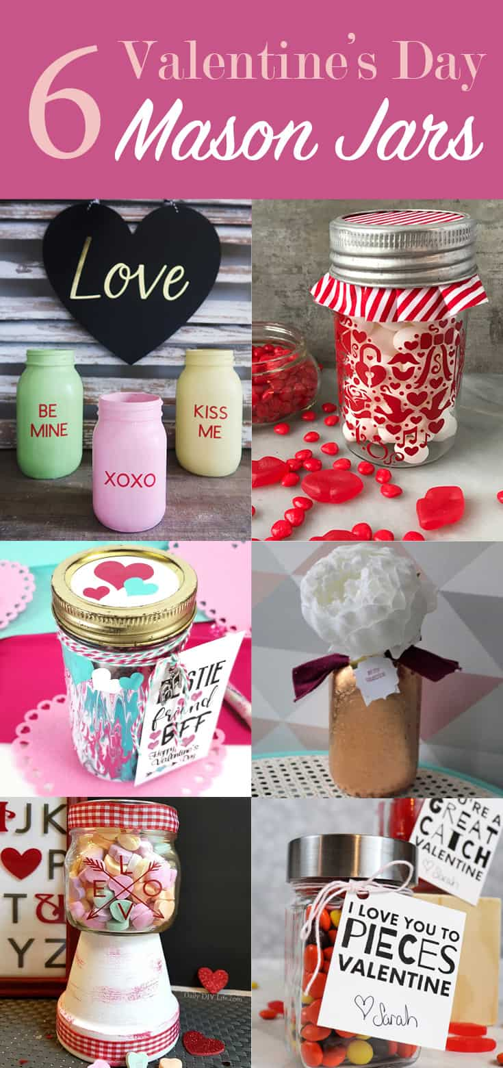 Adding marbling medium to acrylic paints can make some really nice designs. This fun Mason Jar Valentine gift used this marbling with acrylic paint and it turned out awesome! - www.michellejdesigns.com #michellejdesigns #paintmarbling #silhouettecameo #masonjars #masonjargift