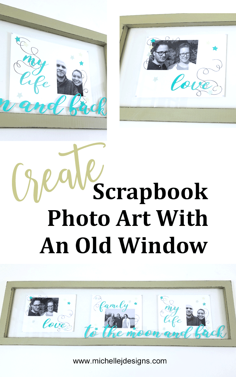 You can create lovely home decor with photos. Using scrapbook digital photo art along with an old window and some vinyl text I created a gorgeous piece of art for my living room! #michellejdesgins #photoart #windowart #photowindow #styletechcraft #metallicvinyl