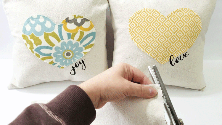 Creating holiday decor is a great idea but it can match your current decor. These Valentine's Day pillows are fun but also match my home. They are easy to make for any holiday! - www.michellejdesigns.com