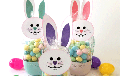 Create a diy bunny mason jar gift with a free svg file from Michelle James Designs - www.michellejdesigns.com