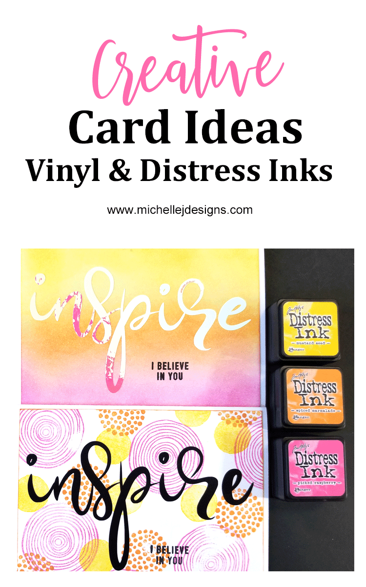 I love to show creative cardmaking ideas that are easy and look good. These cards combine a free vinyl cut file and some distress ink for a simple, colorful look - www.michellejdesigns.com #styletechcraft #opalvinyl #styletechcraftopal
