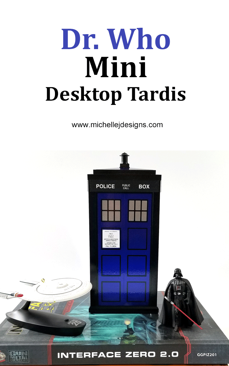 Finished tardis model on top of books