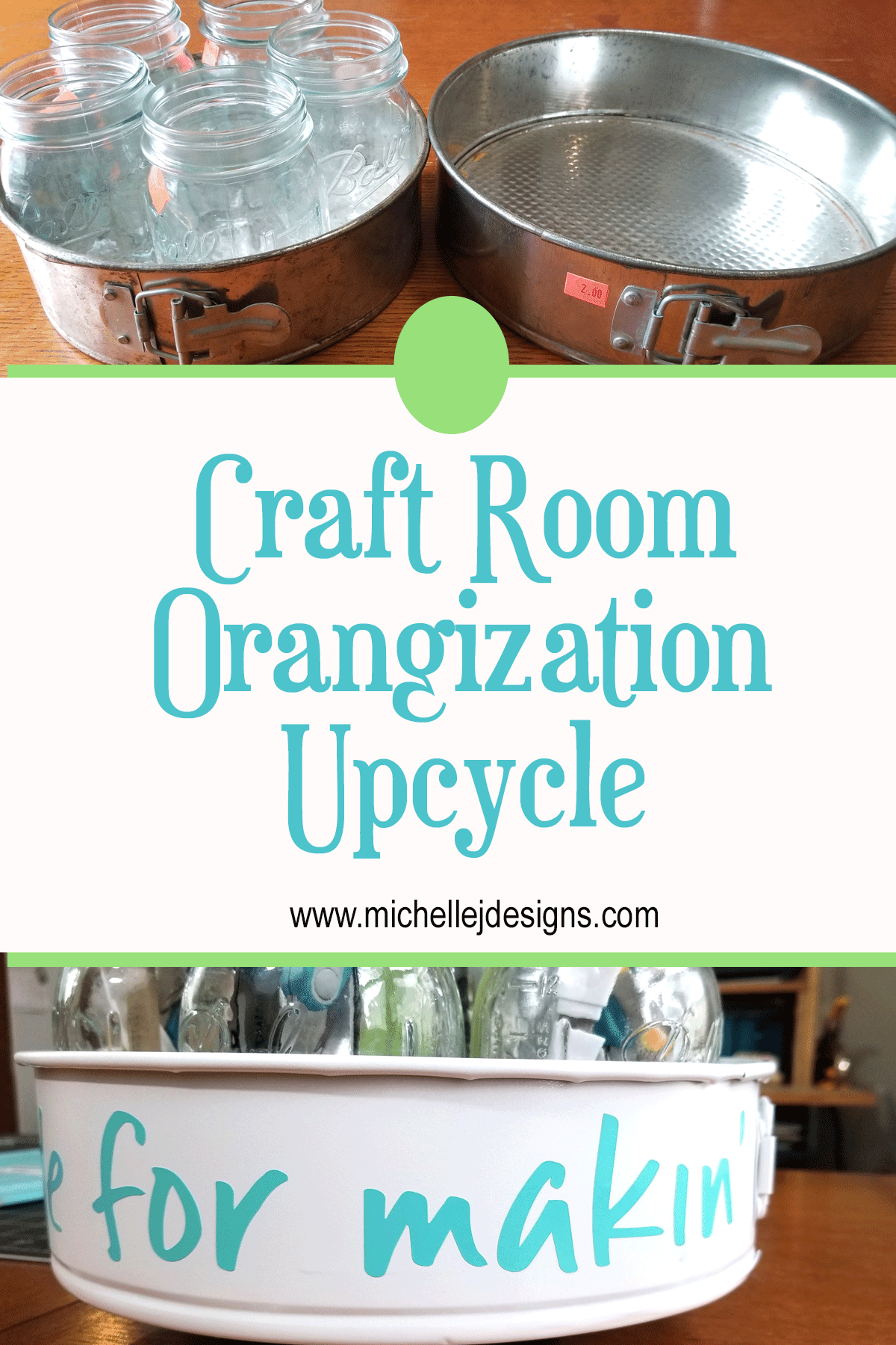 Before and after pics of a tiered craft tool organizer