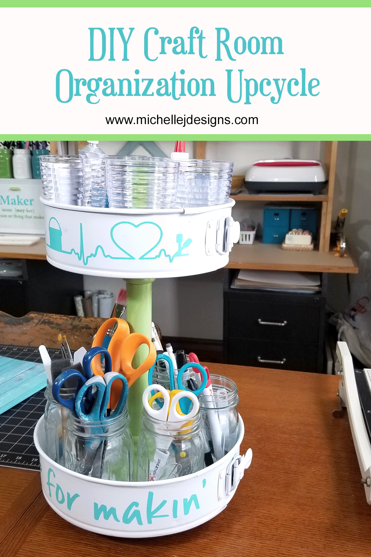 White, teal and green craft tool organizer sitting on craft table full of my favorite tools