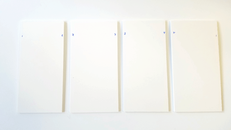 The four sides of the model after being cut to size.