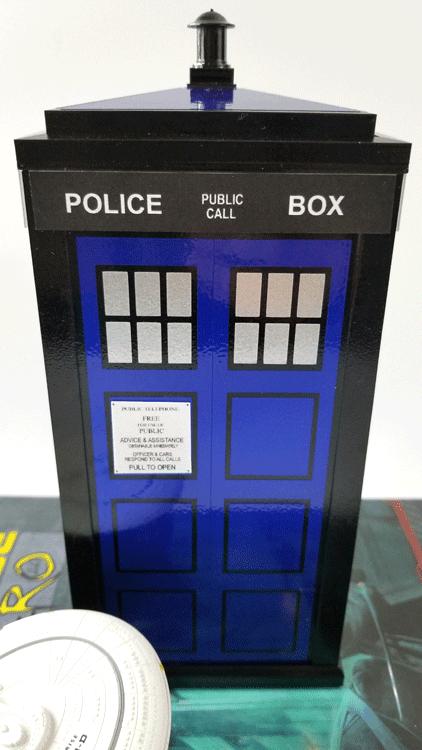 Finished Tardis model for a desktop or shelf.