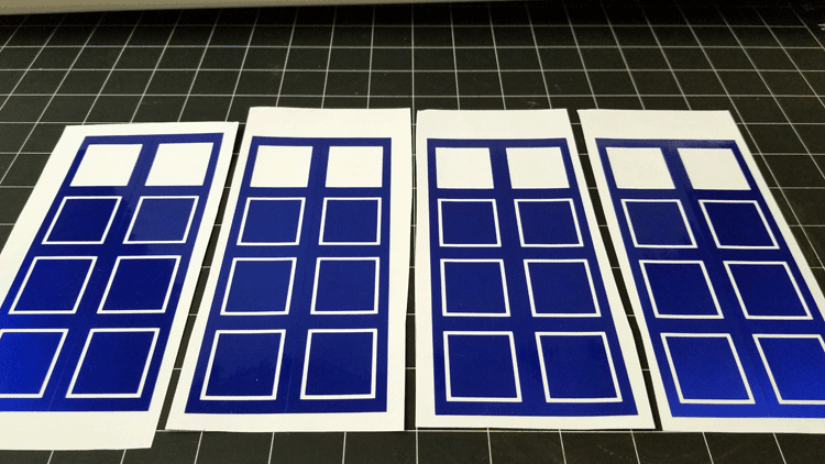 Cut vinyl pieces for the sides of the project