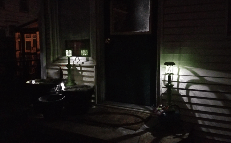 Solar lamp post by the back door after dark.