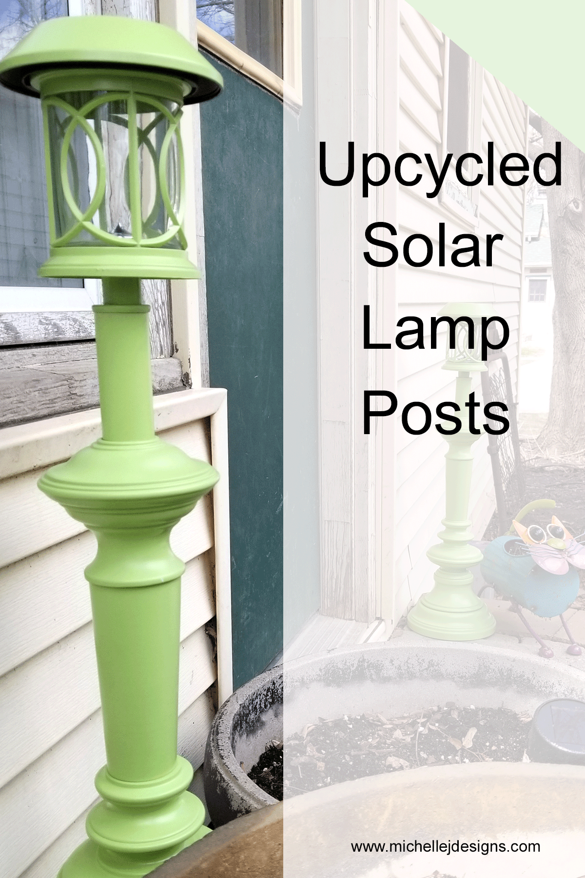 Solar lamp posts on either side of the back door.
