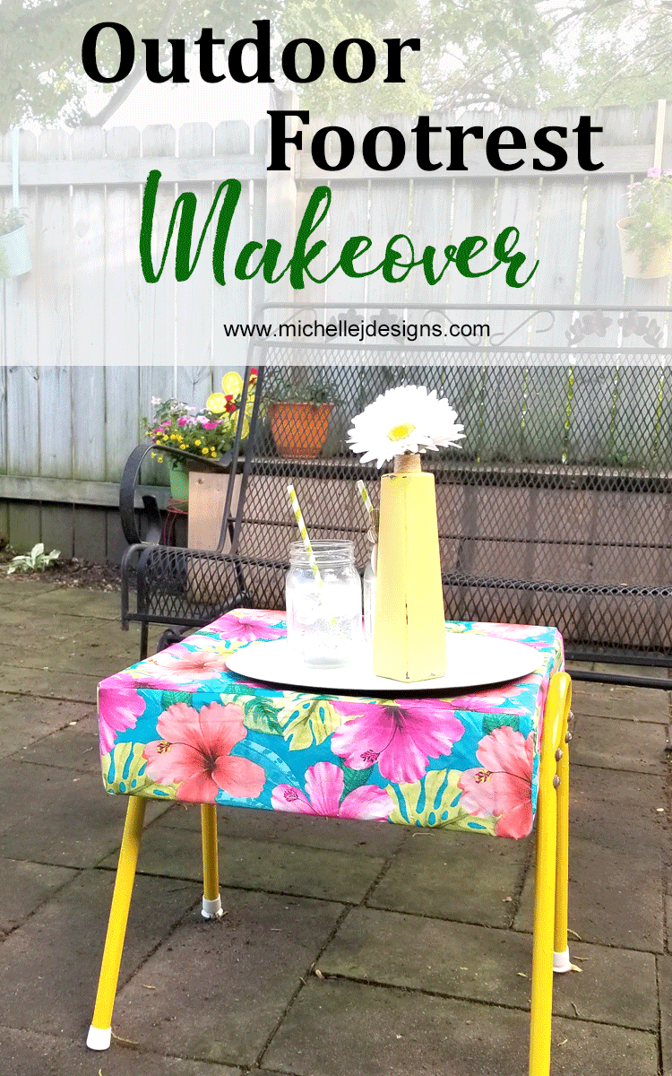 Colorful outdoor ottoman with a bright, flowered cushion made from a vinyl tablecloth