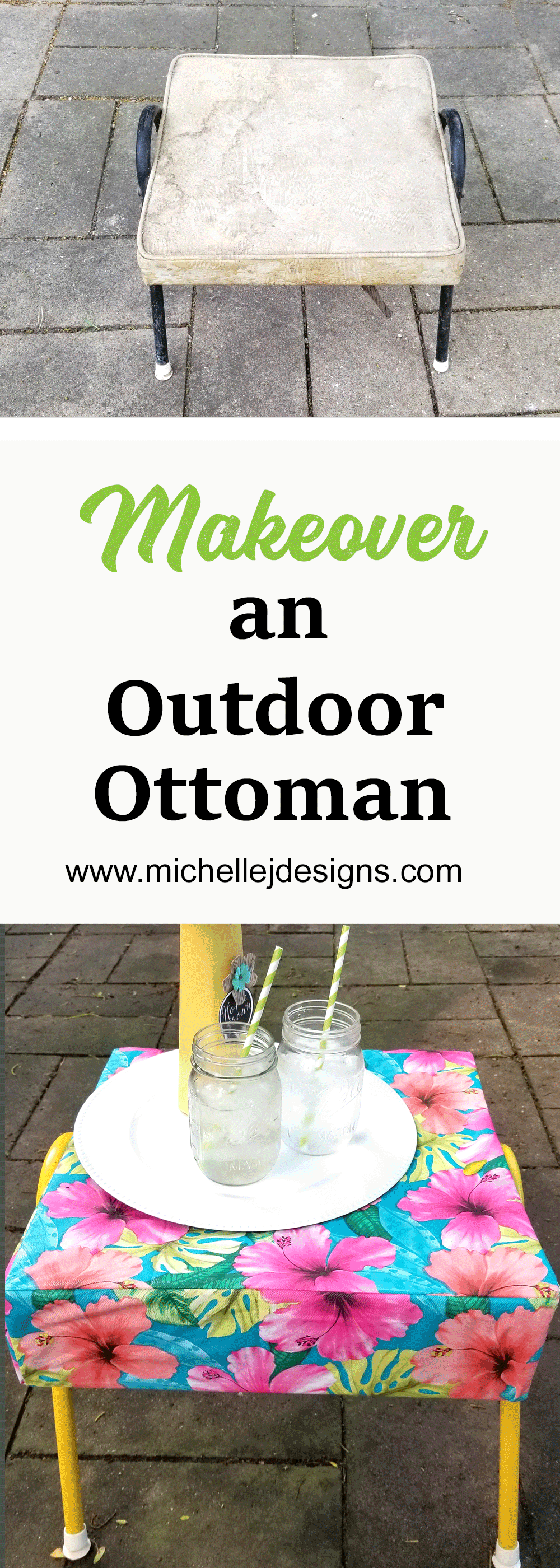 I am loving this finished ottoman makeover for our backyard patio space.