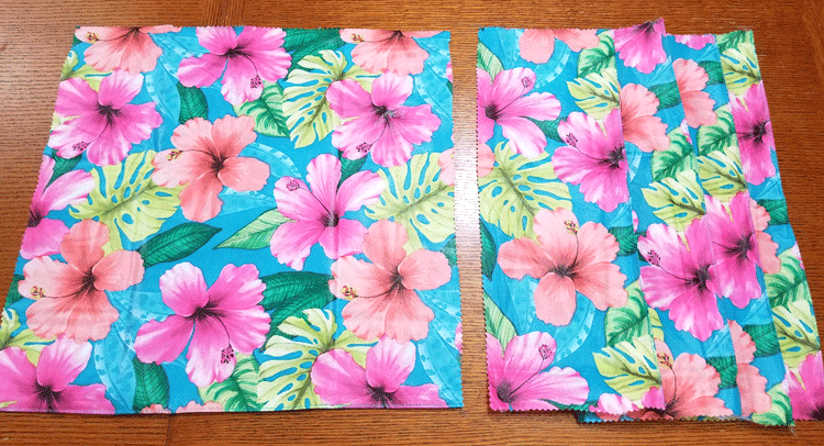 Vinyl tablecloth pieces for sewing the cushion One piece 17x17 inches, and 4 pieces 17 x 6 inches each.