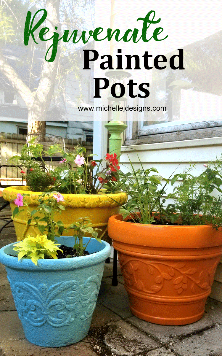 Pretty painted pots with Outdoor Living Paints. Orange, Yellow and teal pots next to the back door filled with impatients and greenery.