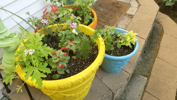 Three large foam painted planters in teal, harvest yellow and sunset orange that sit next to the bag door.