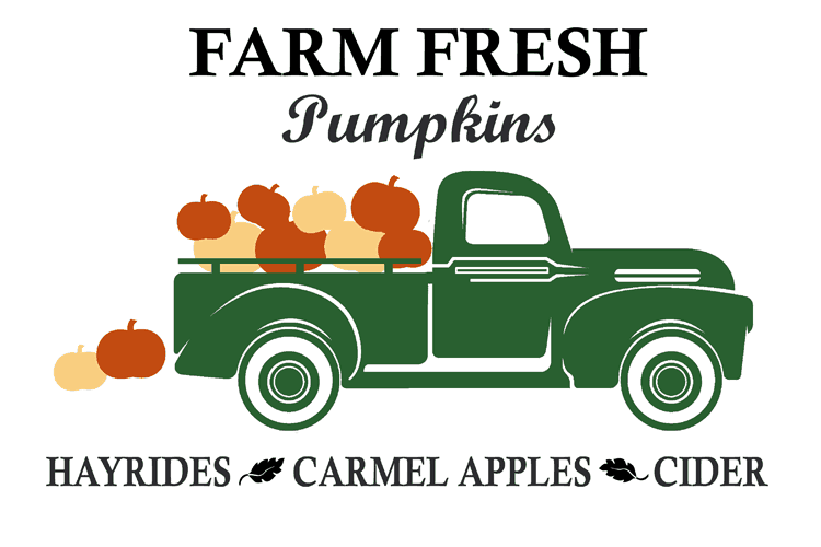 Green vintage truck with gold and orange pumpkins loaded into the back. Black text above reads Farm Fresh Pumpkins and black text below reads Hayrides, Carmel Apples, Cider