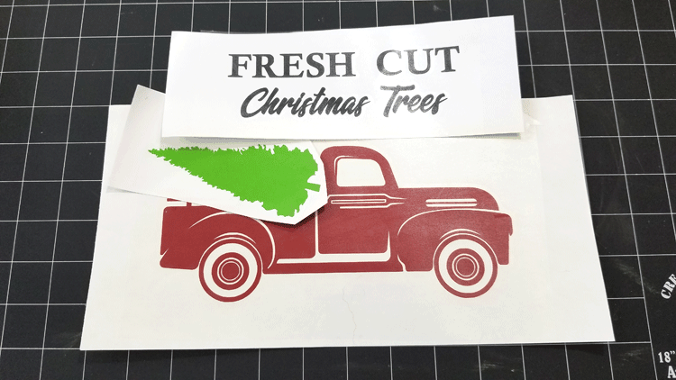 Red Vintage Truck Christmas design all cut from removable vinyl and ready to hang on the wall when the season arrives.