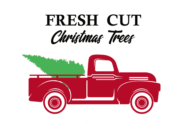 Red vintage truck with a tree loaded into the back. The black text above reads Fresh Cut Christmas Trees