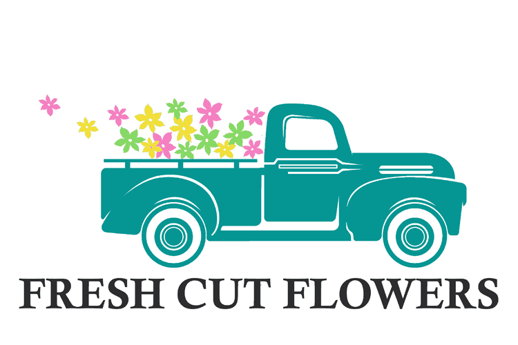 Teal vintage truck with yellow, green and pink flowers loaded in the back. Some of the flowers are flying out behind the truck. Black text that reads Fresh Cut Flowers is below the truck design.