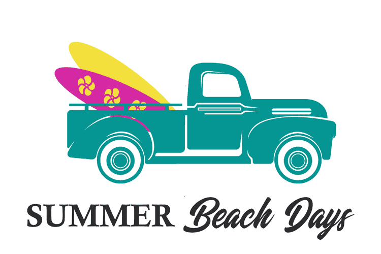 Teal Vintage Truck with two surf boards in the back and the text Summer Beach Days under the design