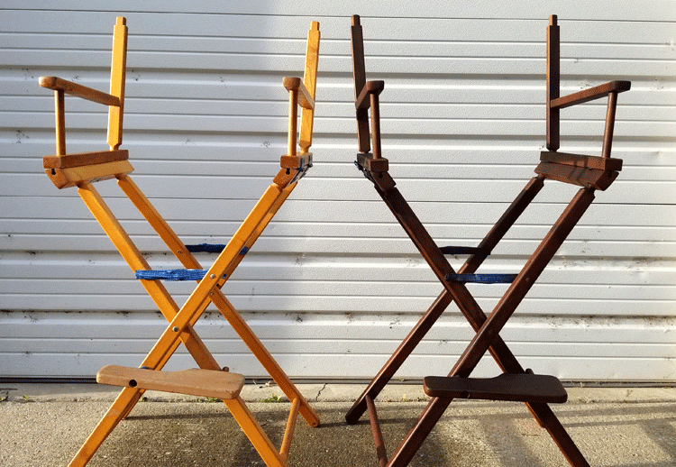 One stained director chair and one original light wood director chair.