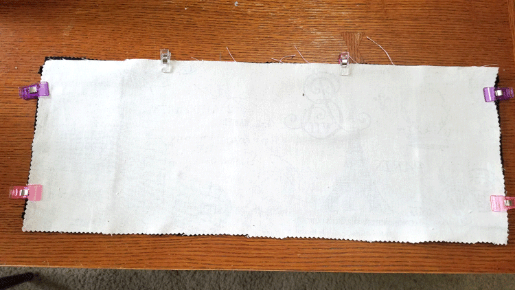 Cut pieces for the chair back with clips and ready to stitch.