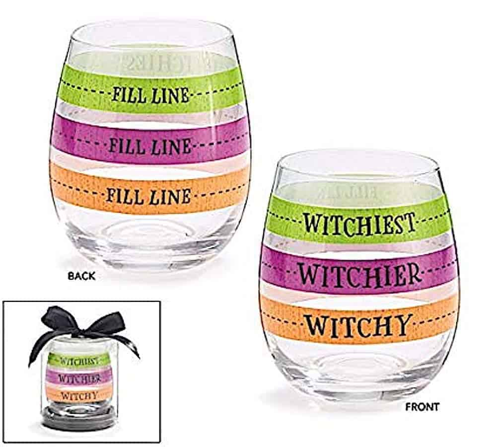 Stemless wine glasses with pour lines that read witchy, witchier, and witchiest.